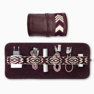 Leather Tech Roll And Mobile Accessories, Bordeaux Red