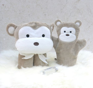 Personalised Cheeky Monkey Baby Towel Gift Set - bathroom
