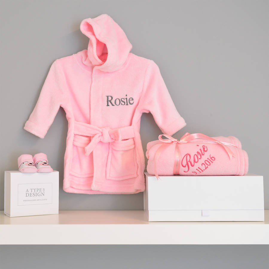 1caa0a6be6ecc personalised dressing gown and blanket baby girl hamper by a type of ...