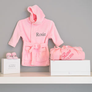 Personalised Dressing Gown And Blanket Baby Girl Hamper - blankets, comforters & throws