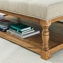 Shallow Buttoned Oak Coffee Table Stool
