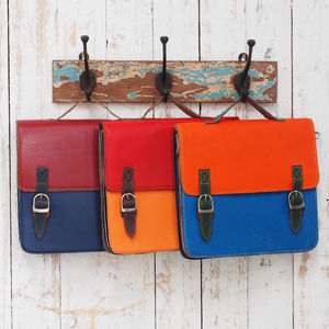 Recycled Colour Block Two Strap Leather Satchel