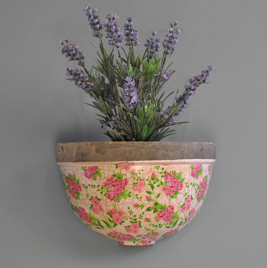 Pink Floral Wall Planter By Garden Selections