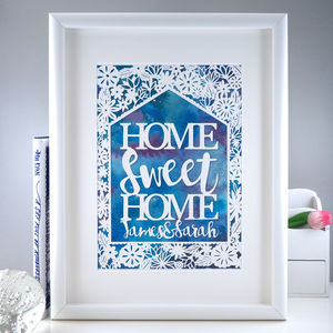 Watercolour 'Housewarming' Personalised Gift Print - typography