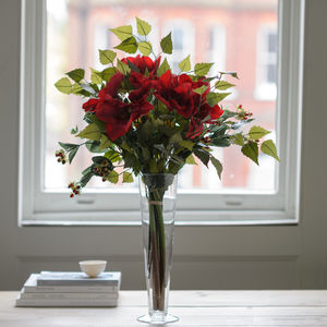 Festive Red Amaryllis And Berry Luxury Silk Bouquet - artificial flowers