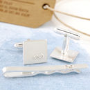 Personalised infinity cufflink and tie slide set