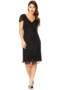 Downton Abbey Flapper Embellished Dress - women's fashion
