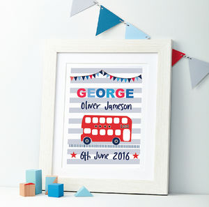 Boys Personalised Bus Framed Print