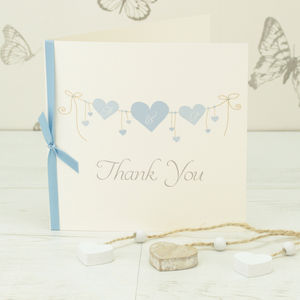 10 Personalised Heart String Thank You Cards