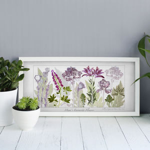 Mum's Garden Flowers, Personalised Floral Art Print - gifts