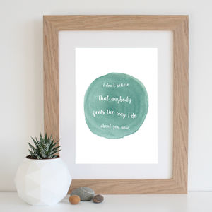 Oasis 'Wonderwall' Watercolour Song Lyrics Print
