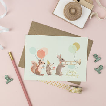 Woodland Animal Parade Birthday Card