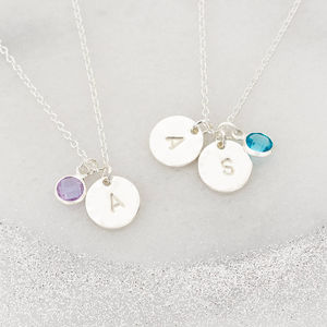 Personalised Hammered Disc And Birthstone Necklace - bridesmaid jewellery