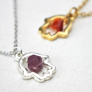 Lucky Hamsa Birthstone Charm Necklace - birthstone jewellery gifts