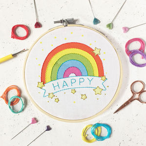 Happy Rainbow Embroidery Craft Kit
