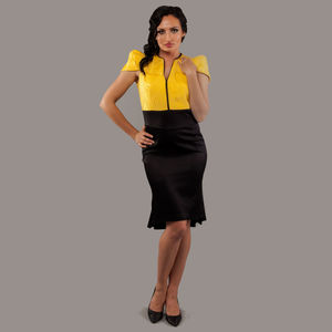 Elegant Yellow Black Cotton Dress Rachel