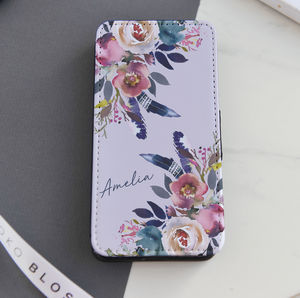 Watercolour Floral Personalised Flip Phone Case - phone covers & cases