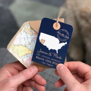 Location Heart Luggage Tag Save The Date - wedding stationery