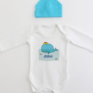 Organic Cotton Whale Personalised New Baby Gift Set