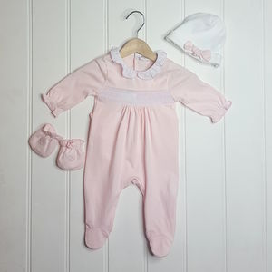 Baby Girl French Designer Smocked Babygrow Outfit - babygrows