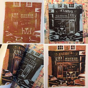 Bespoke Linoprint Illustration Of Shop Or Business - architecture & buildings