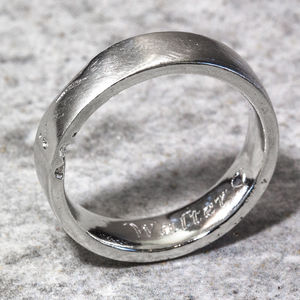 Personalised Sterling Silver 6mm Flat Sand Cast Ring - wedding jewellery