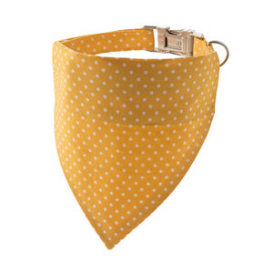 Buttercup Yellow Polka Dot Bandana Dog Collar - dog collars