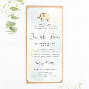 Boy Christening Invitation Watercolour Elephant