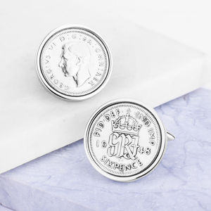 Sixpence 1948 70th Birthday Coin Cufflinks - 70th birthday gifts