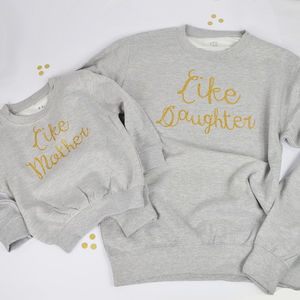 'Like Mother Like Daughter' Light Grey Sweatshirt Set - mother & child sets