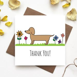Dachshund Thank You Card - thank you cards