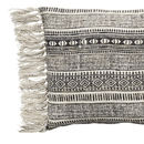 Cotton Natural And Black Fringed Cushion
