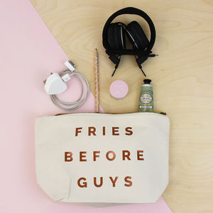 'Fries Before Guys' Valentine Make Up Accessory Bag - make-up bags
