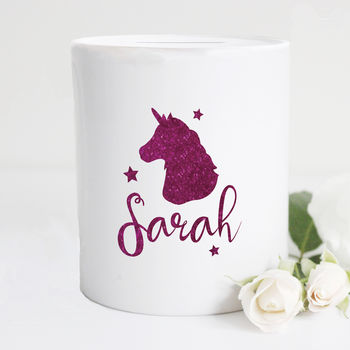 Personalised Glitter Unicorn Moneybox