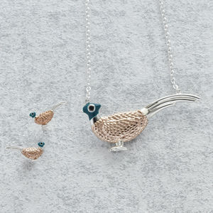 Pheasant Necklace And Stud Earrings