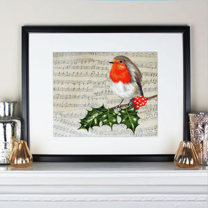 Robin And Holly On Vintage Music Limited Edition Print - music