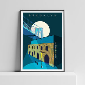 Brooklyn Bridge New York Illustrated Art Print