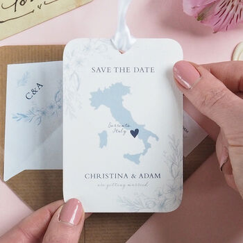 Floral Map Save the Date Tag
