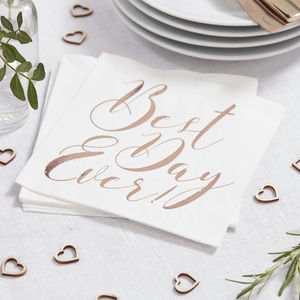 Rose Gold Foiled Best Day Ever Wedding Paper Napkins - napkins & napkin holders