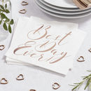 Rose Gold Foiled Best Day Ever Wedding Paper Napkins
