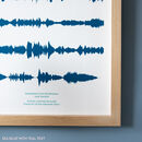 Personalised Favourite Song Soundwave Print in Sea Blue
