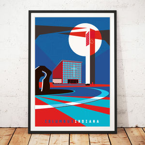 Columbus Indiana Illustrated Art Print