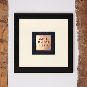 Hand Stamped Copper In Frame