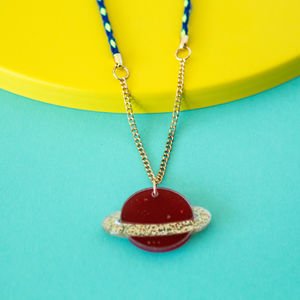Acrylic Saturn Sweet Thing Necklace - necklaces & pendants