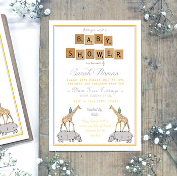 Personalised Grey And Yellow 'Baby Shower' Invitations