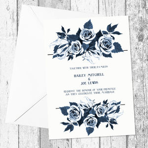 Navy Floral Bouquet Personalised Wedding Invitations - invitations