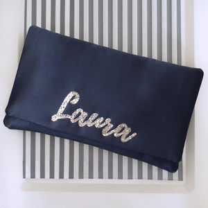 Black Or Navy Satin Name Clutch - womens
