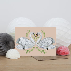 Swan Lovers Illustrated Greeting Card