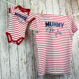 Matching Stripe Personalised T Shirt Set
