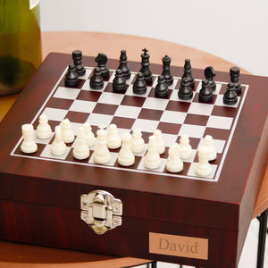 Personalised Tabletop Chess Box With Wine Accessories - tableware